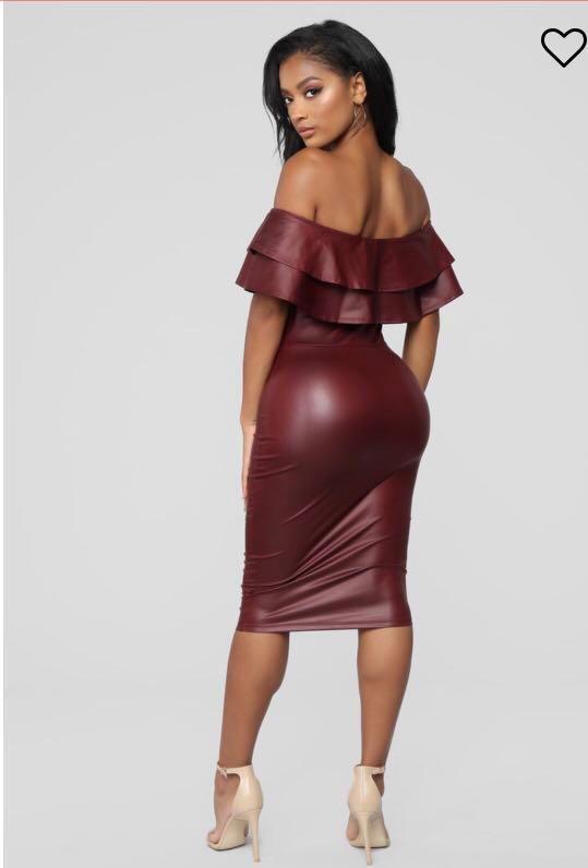 Fashion Nova Oxblood Midi Dress - Size Small