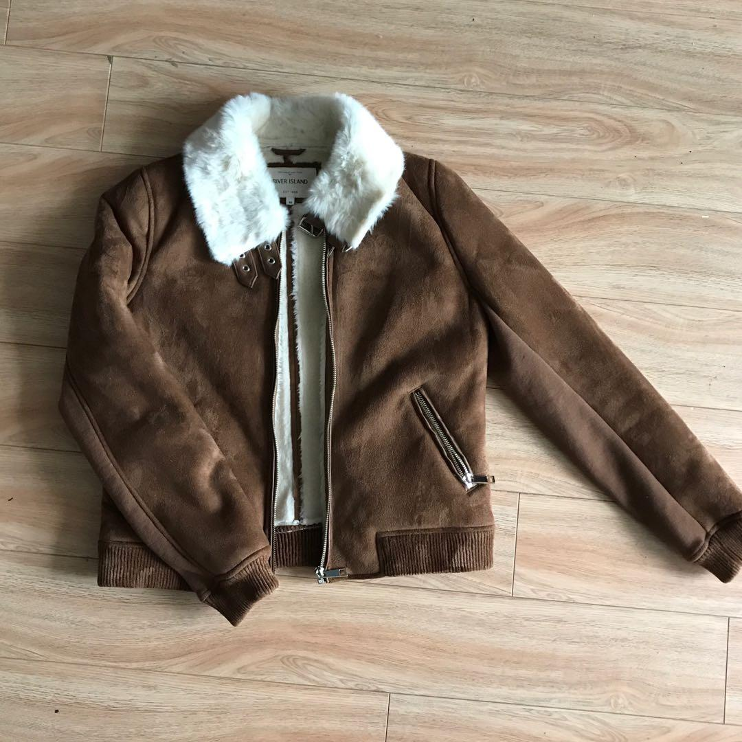 Faux River Island sheepskin coat