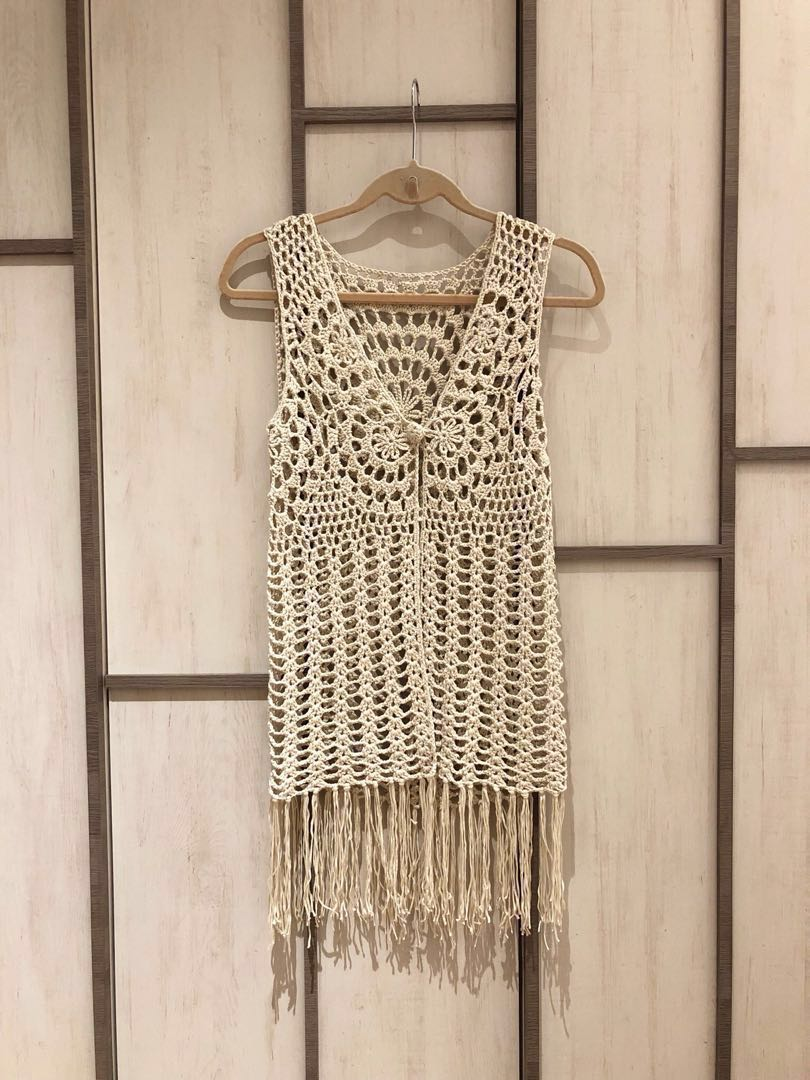 Forever 21 Crochet Beach Fringe Vest Beige Cream Womens Fashion
