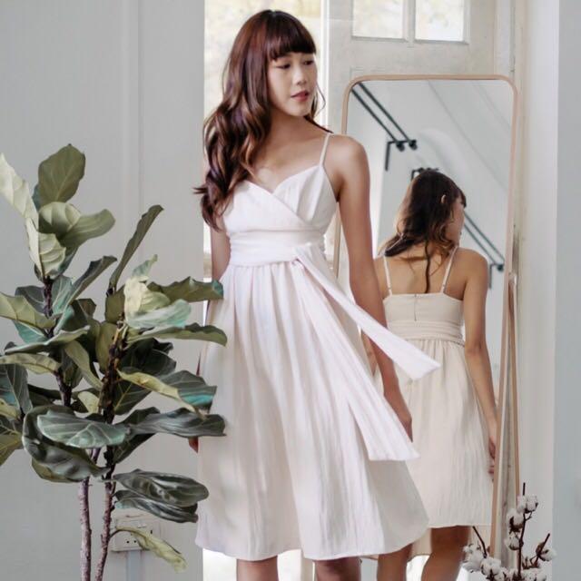 Front wrap midi dress