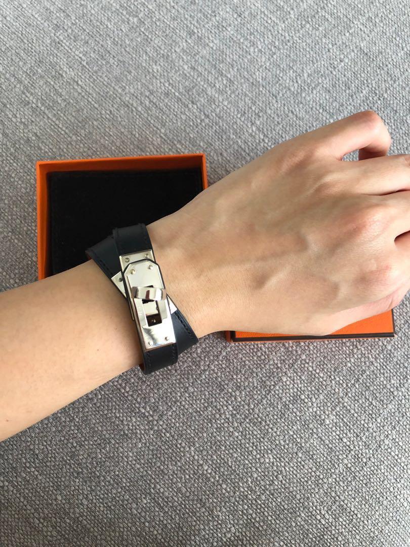 a35e7058497 Hermes Kelly Double Tour KDT Bracelet Black Size S Swift Leather ...