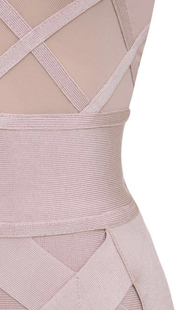 House of CB 'Jarelle' Nude/Blush Bandage & Mesh Dress with Shorties