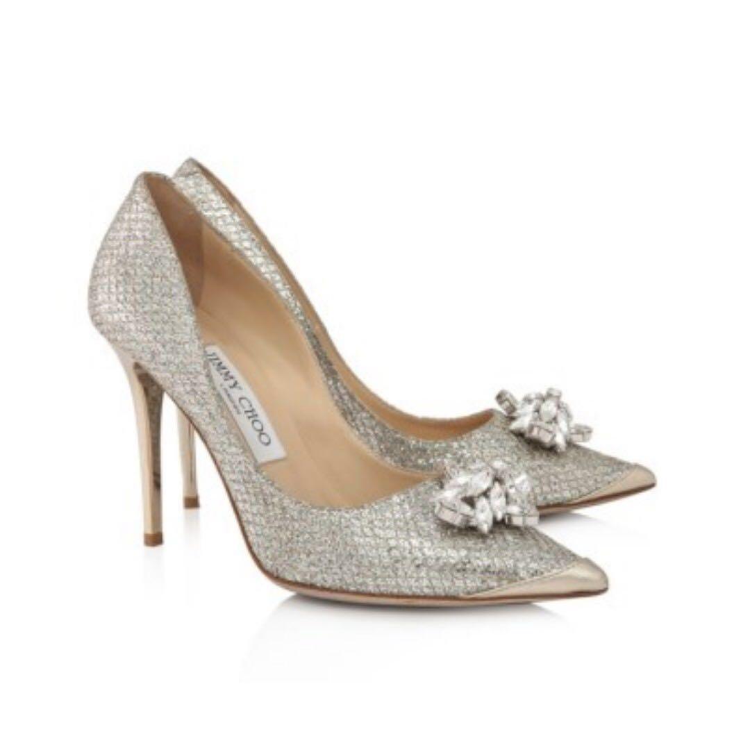 60745d59dc0f Jimmy Choo Dempsey Crystal Champagne Silver Heels Bridal Wedding ...