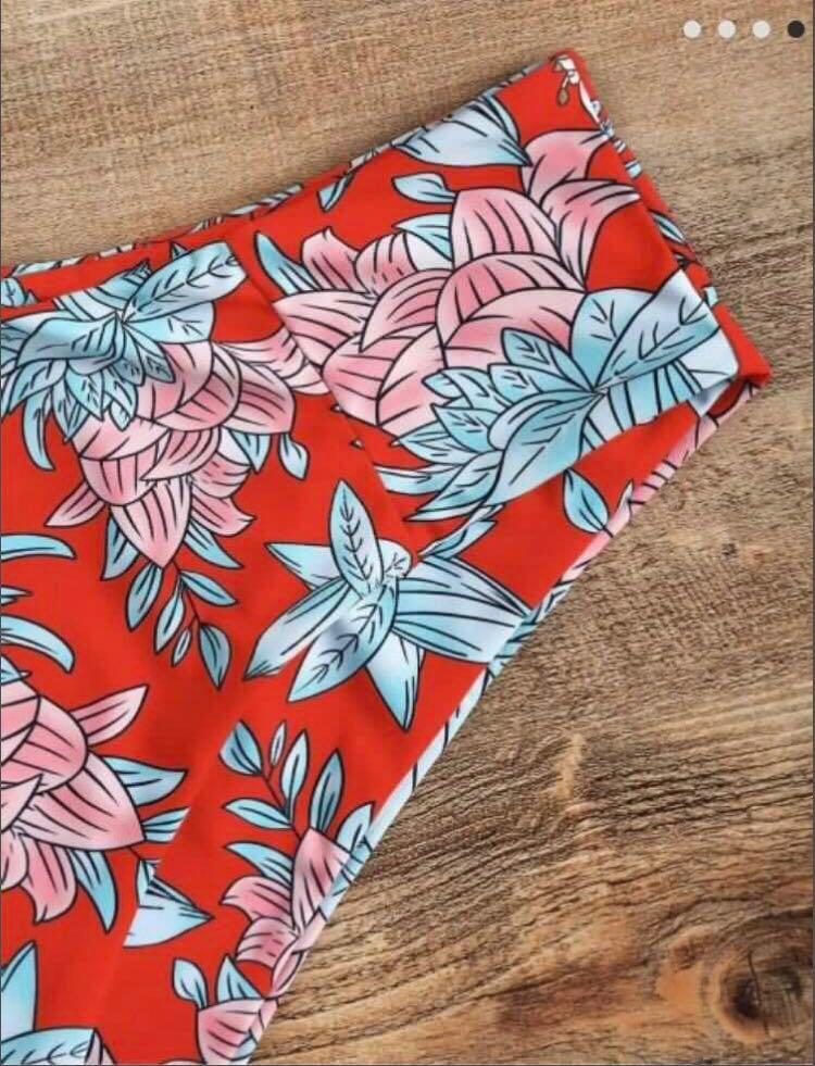 *NEW* Red Floral Zaful Bandeau High Waisted Bikini