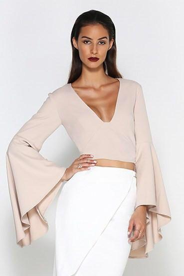 Nude Cropped Shirt - Bell sleeves - Size 10