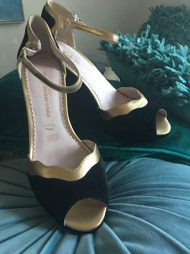 Parisian black velvet wedge heels with matt gold trim