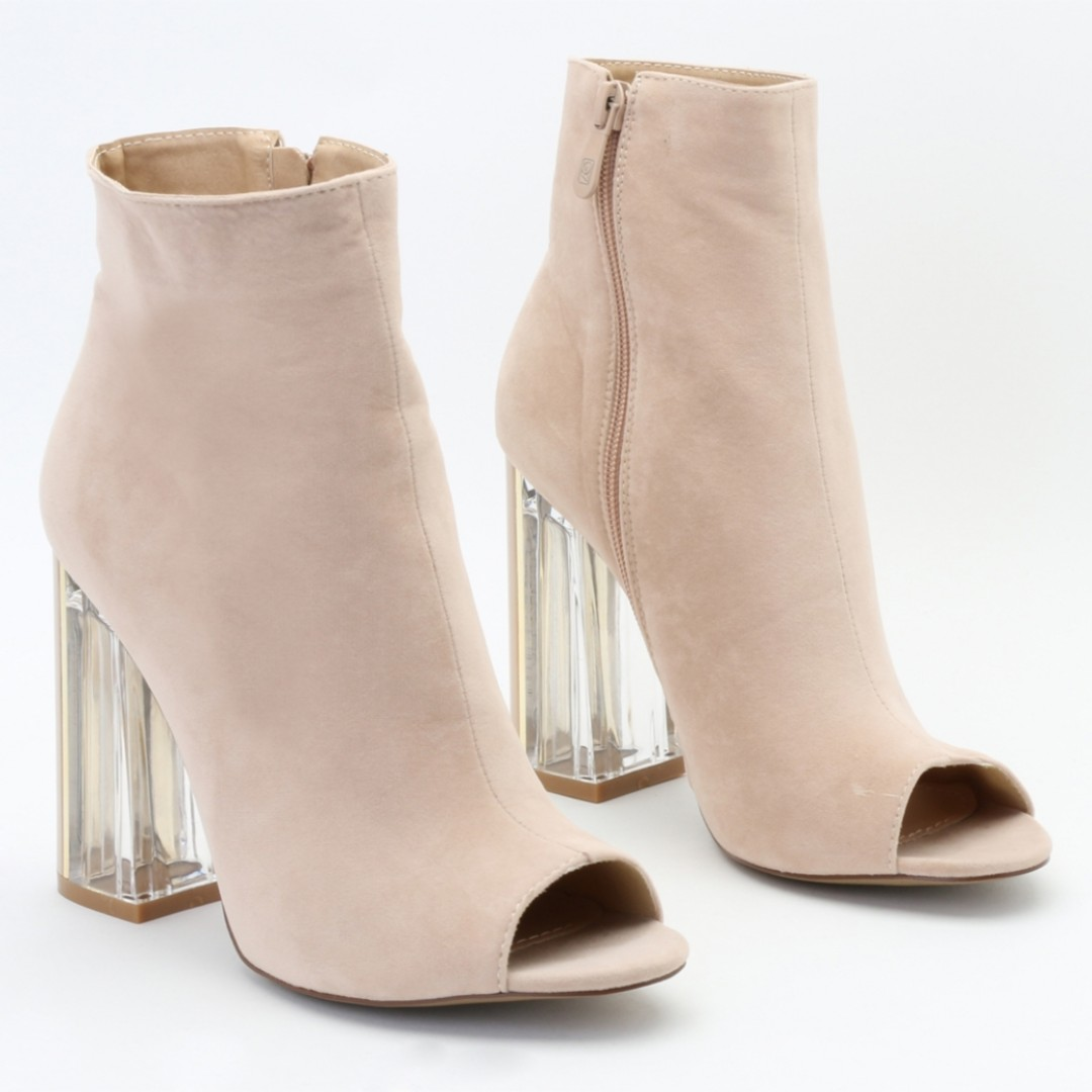 972e191df6 PUBLIC DESIRE PERSPEX HEELED ANKLE BOOTS IN NUDE FAUX SUEDE, Women's ...