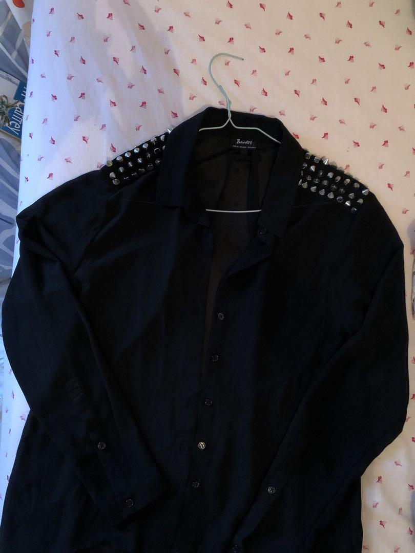 Sheer Black Blouse Button Up Shirt Spikey Gold Shoulder