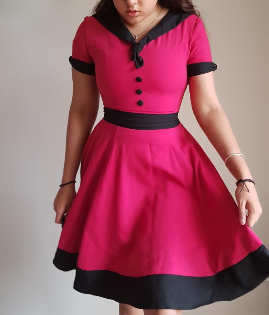 Size 12 Goth Pinup Red dress by Banned Apparel *red not pink*