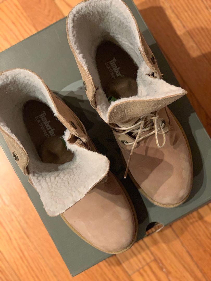 Timberlands - teddy fleece fold down boots