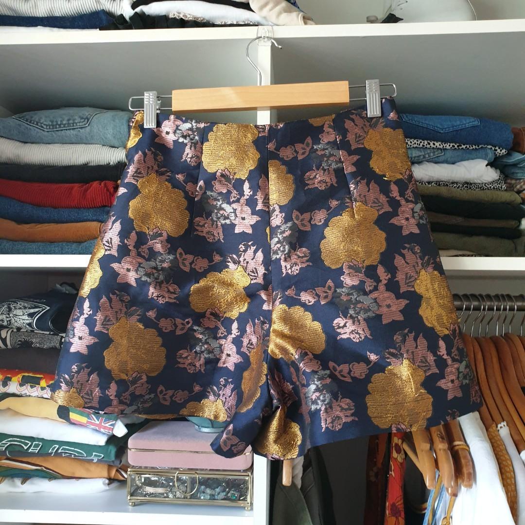 Topshop metallic gold floral print shorts high waisted