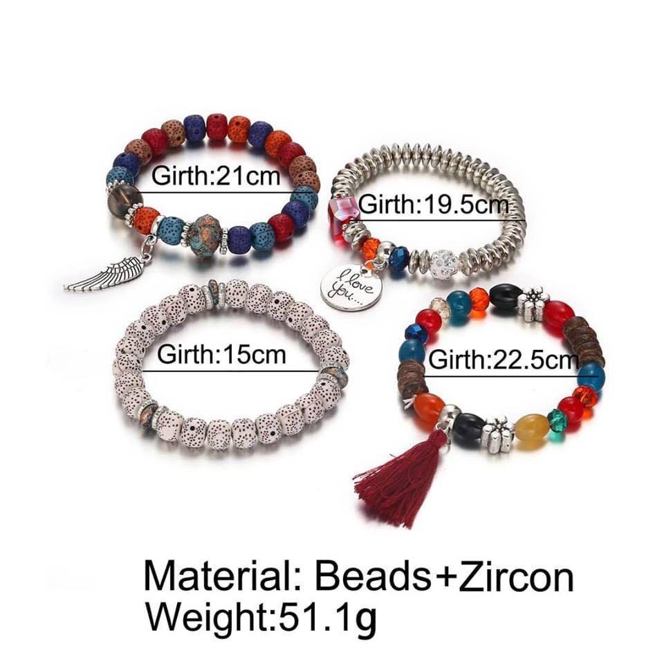 Trendy ethnic vintage multi layer beads bracelets unisex