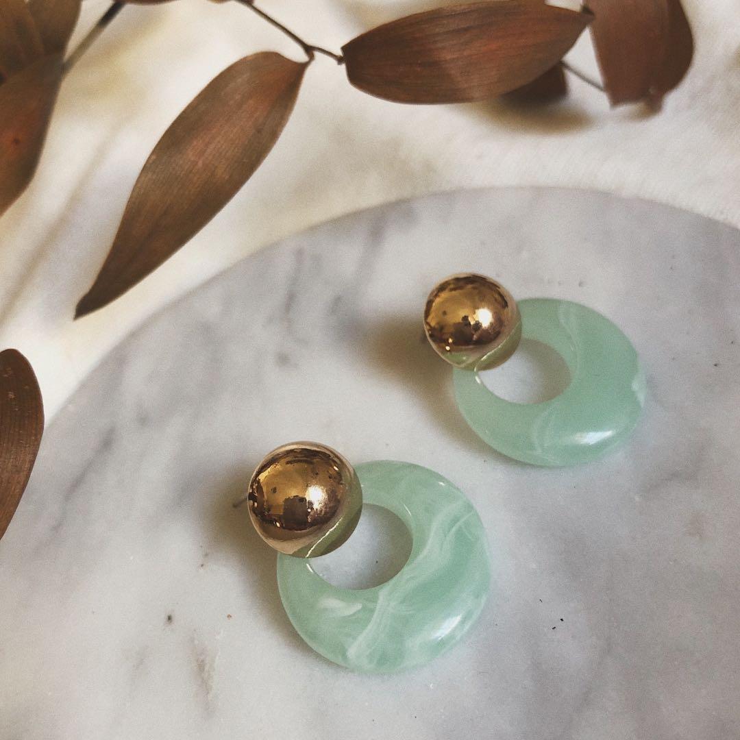 Vyinah Jade Green Stud Earring