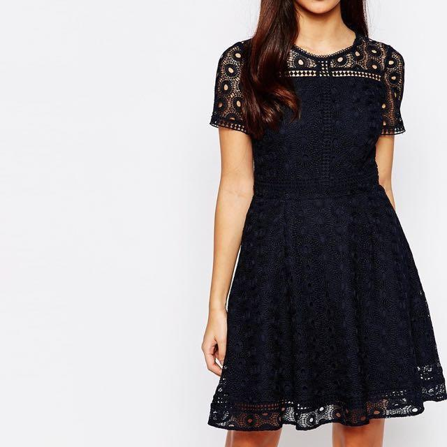 Warehouse Lace Skater Dress