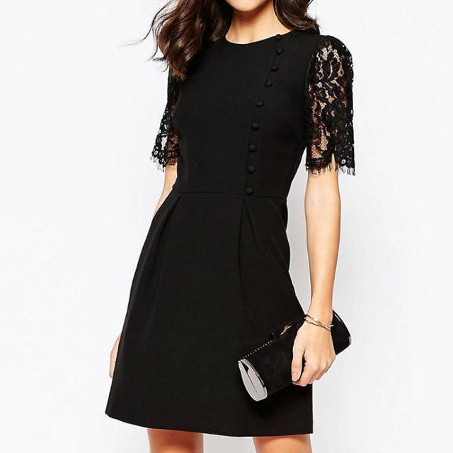 Warehouse Lace Sleeve Button Front Dress