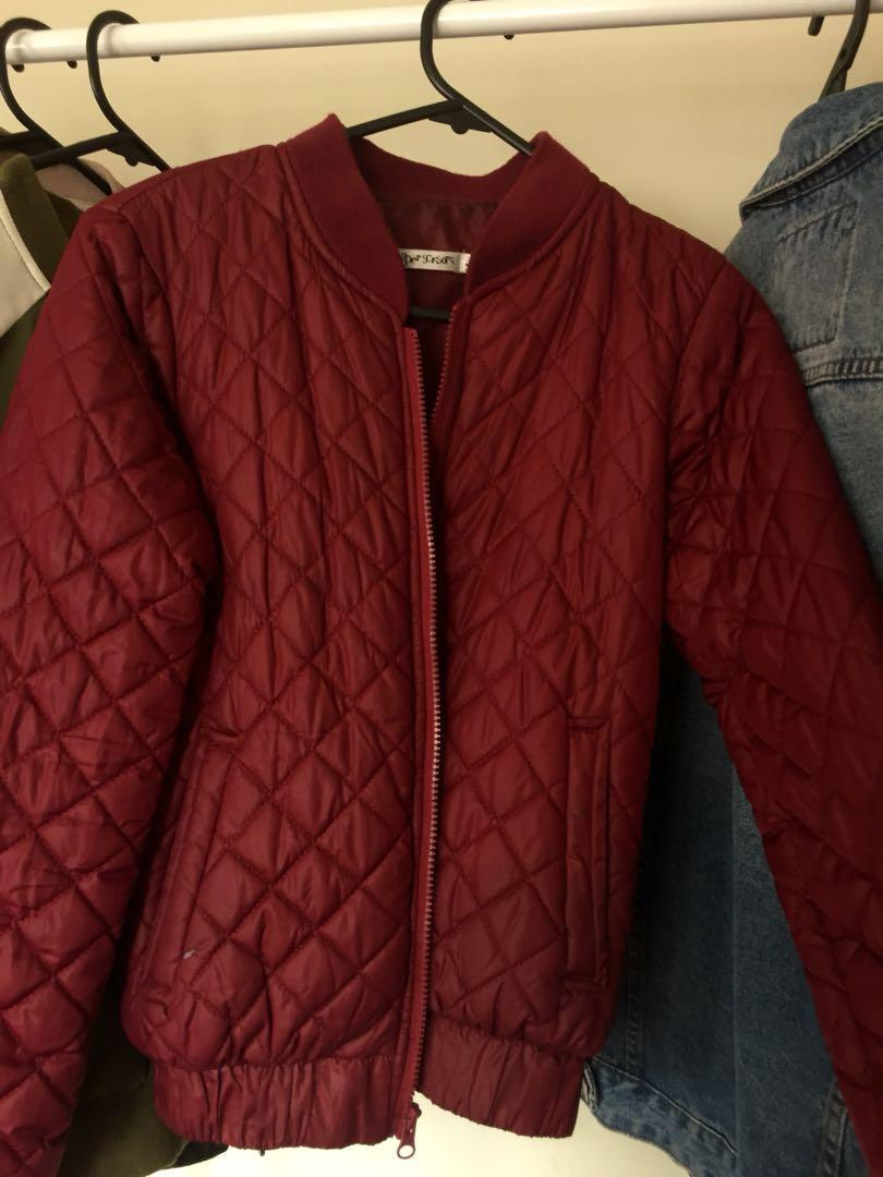 Wine bomber jacket