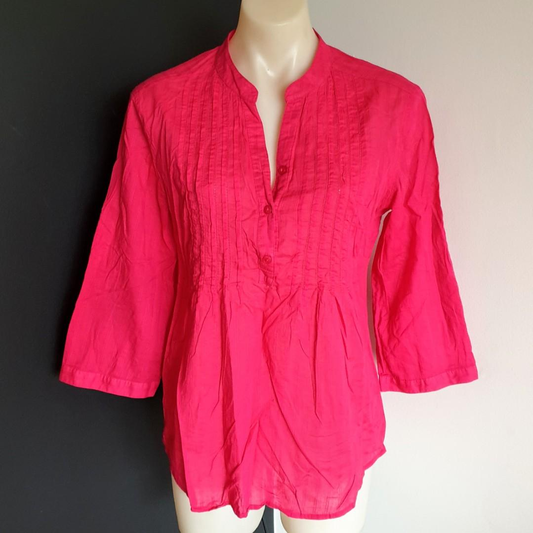 Women's size 10 'TARGET' Gorgeous pink button down blouse, roll up sleeve-AS NEW