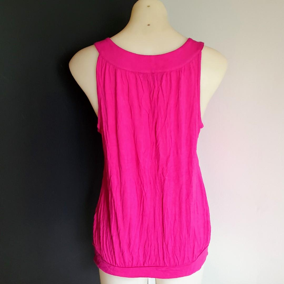 Women's size 12 'EXPRESSION' Gorgeous pink top with studded neckline - AS NEW