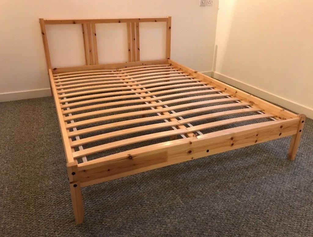 Wooden Pine Double Bed Frame Ikea Fjellse Furniture Beds Mattresses On Carousell