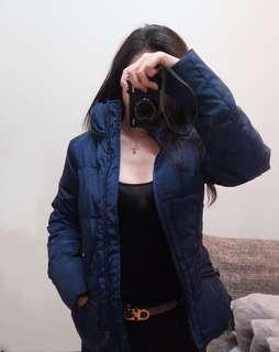 🚚 Zara 短版藍色羽絨夾克 有腰身 冬天一點也不臃腫 (全新 僅試穿)
