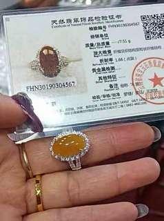 🚚 缅甸翡翠玉黄翡戒指。100%天然
