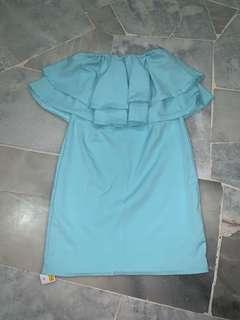 (NEW)Turquoise off shoulder dress #MMAR18