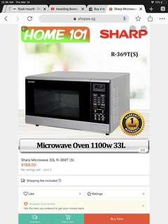 Sharp microwave 1100 watt 33 liters