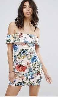 PrettyLittleThing Tropical Bodycon Dress