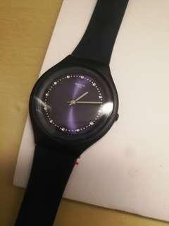 Swatch dark blue crystal watch 手表