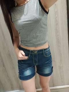 反折短褲深藍