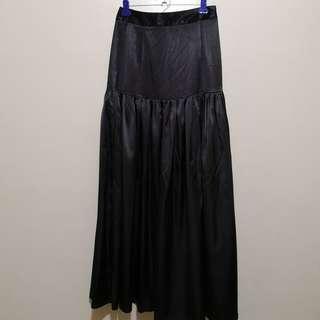 C331 - Haeju Black Satin Long Skirt