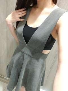 西裝布吊帶裙