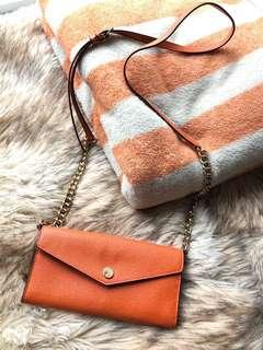 Michael Kors Orange&Gold Wallet on Chain