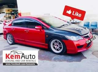 Candy Red Honda Civic 2.0M FD2 FOR Rental / Lease Grab GoJek ryde