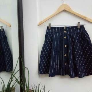 Korean Button Navy Skirt