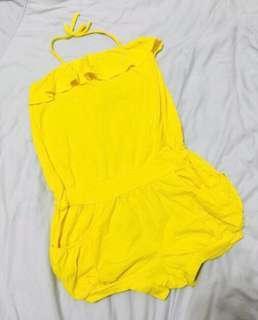 🚚 Why and 1/2 女童黃色水鑽荷葉邊繞頸連身短褲露背裝11號135cm