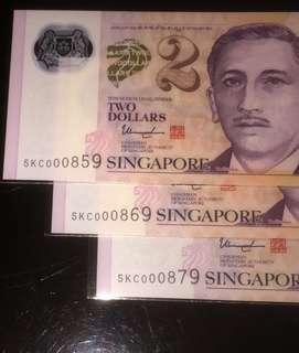 💥000859➕000869➕000879💥Pick Your Special Number - Portrait Polymer $2 Notes in UNC Conditions