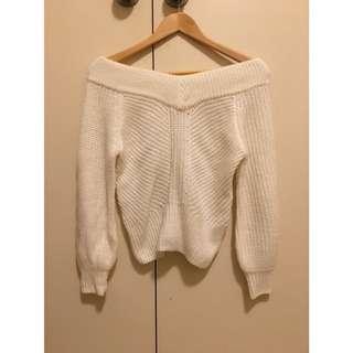 Miss Selfridge Off Shoulder White Comfy Cozy Knit Sweater Jumper XS/6