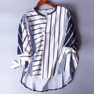撞色條子仿雪紡恤衫 Printed Multi -Stripes shirt 包本地平郵