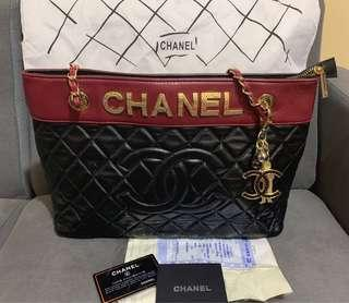 Bnew Chanel Colorblock Quilted With Bag Charm Shopping Tote