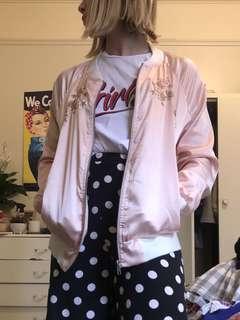 Pink boohoo satin silk bomber jacket size S 8