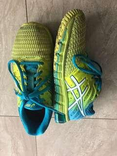 ASICS yellow/green and blue runners