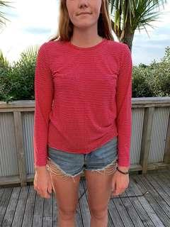Huffer long sleeved red and white top