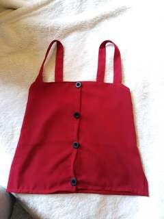 Red button up singlet