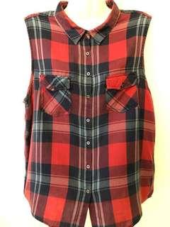 Cotton On Red Tartan Flannel Sleeveless Shirt #MakeSpaceForLove