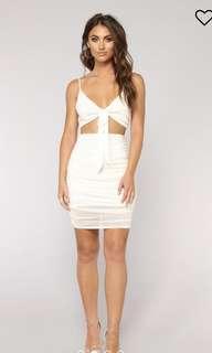Fashion nova white front tie dress