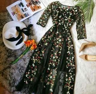 Full Embroidery Long Dress