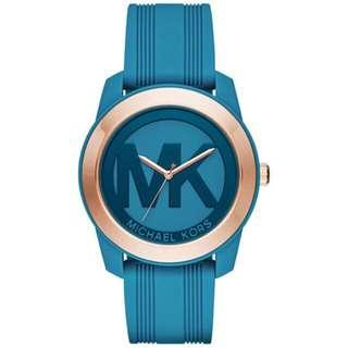 Bnew Authentic MICHAEL KORS Women's Preston Turquoise Silicone Strap Watch 43mm MK2559
