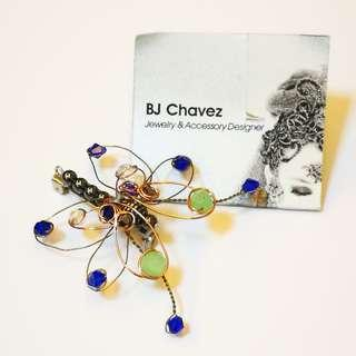 🆕 BJ Chavez Handcrafted Jewelry Butterfly Wire Brooch Pin with Beads and Semi Precious Stones