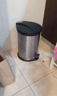 Stainless steel rubbish bin